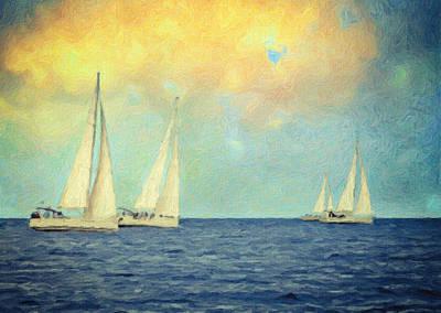 Blue Painting - Adrift by Taylan Soyturk