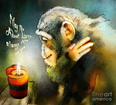Chimpanzee Drawing - Advent Light by Miki De Goodaboom