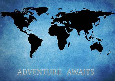 Adventure Awaits World Map Print by Dan Sproul