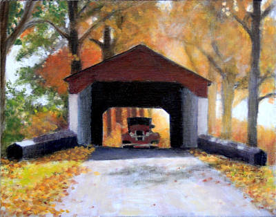 Covered Bridge Painting - Adventures In Time by David Zimmerman