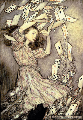 Falling Drawing - Adventures In Wonderland by Arthur Rackham