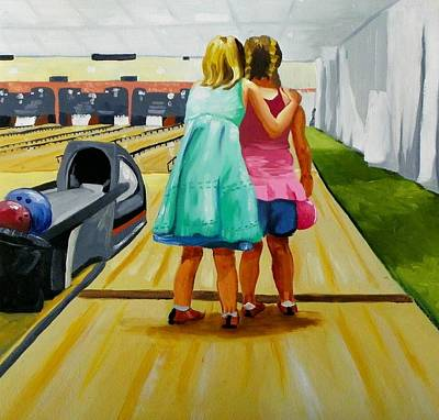 Bowling Alley Painting - Advice  On Bowling by Rhondda Saunders