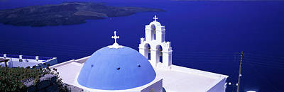 Rooftop Photograph - Aegean Sea Firostefani Santorini Greece by Panoramic Images