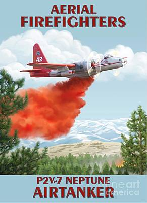 Firefighter Painting - Aerial Firefighters P2v Neptune by Airtanker Art