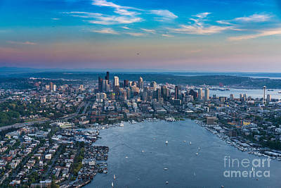 Northwest Photograph - Aerial Lake Union And Seattle by Mike Reid