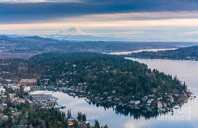 Seattle Skyline Photograph - Aerial Meydenbauer Bay And Rainier by Mike Reid