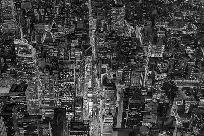 Times Square Photograph - Aerial New York City 42nd Street Bw by Susan Candelario