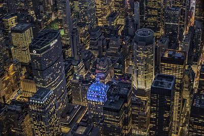 Aerial New York City Skyscrapers Print by Susan Candelario