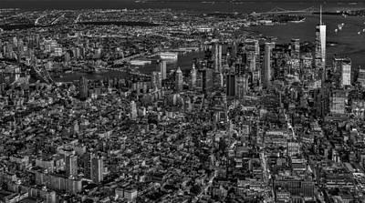 Aerial New York City Sunset Bw Bw Print by Susan Candelario