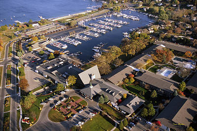 Aerial Of The Abbey Resort And Harbor - Fontana Wisconsin Print by Bruce Thompson