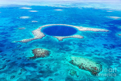 Landscape Photograph - Aerial Of The Great Blue Hole - Belize by Matteo Colombo