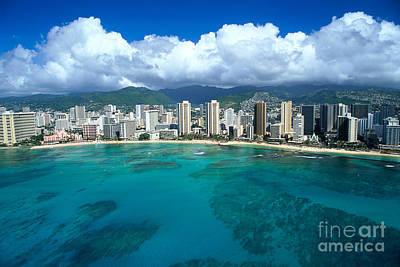 Aerial Of Waikiki Print by Peter French - Printscapes