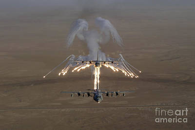 Stratotanker Photograph - Aerial Shot Over Iraq Of A Kc-130 by Stocktrek Images