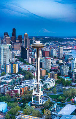 Aerial Space Needle Downtown Seattle And Rainier Print by Mike Reid