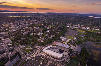 Aerial University Of Washington Campus At Sunset Print by Mike Reid
