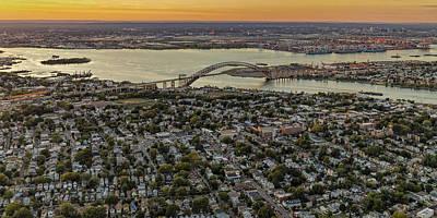 Aerial View Bayonne Bridge Nj Print by Susan Candelario