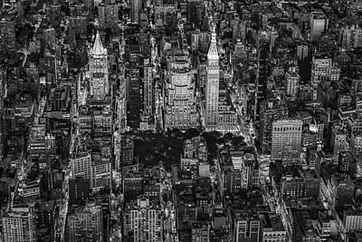 Aerial Photograph - Aerial View Flatiron District Bw by Susan Candelario