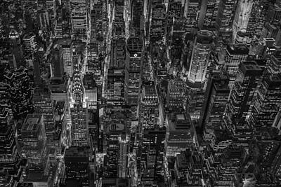 Aerial View Midtown Manhattan Nyc Bw Print by Susan Candelario