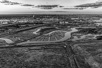 Black And White Photograph - Aerial View New Jersey Turnpike Bw by Susan Candelario