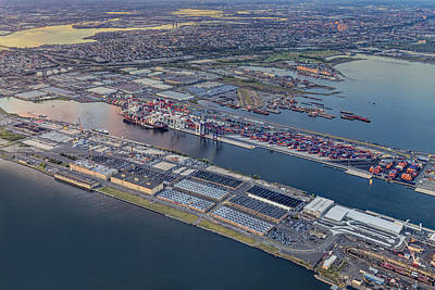 Aerial View Bayonne Container Terminal Print by Susan Candelario