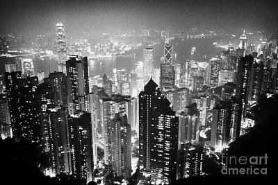 Hong Kong Photograph - Aerial View Of Hong Kong Island At Night From The Peak Hksar China by Joe Fox