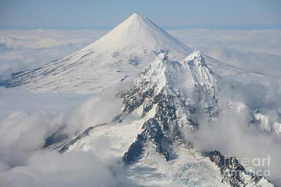 Aerial View Of Shishaldin Volcano Print by Richard Roscoe