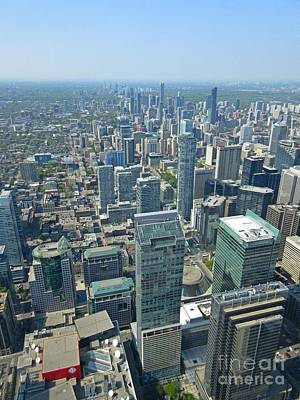 Aerial Perspective Painting - Aerial View Of Toronto Looking North by John Malone