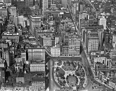 Union Square Photograph - Aerial View Of Union Square by Underwood Archives