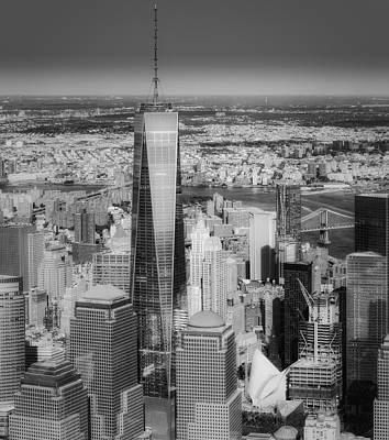 Aerial World Trade Center Wtc Bw Print by Susan Candelario