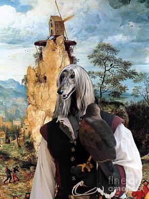 Afghan Hound-falconer And Windmill Canvas Fine Art Print Print by Sandra Sij
