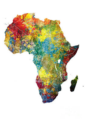 Africa Map Dangerous Print by Justyna JBJart