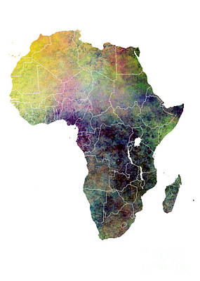 Africa Map Ecology Print by Justyna JBJart