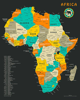 Africa Map Print by Jazzberry Blue