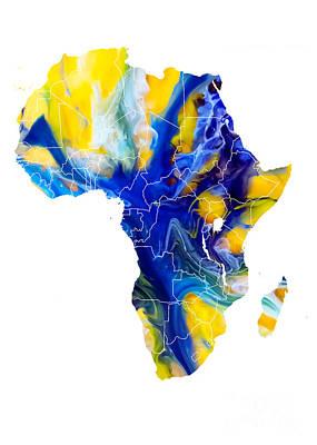 Africa Digital Art - Africa Map Water by Justyna JBJart