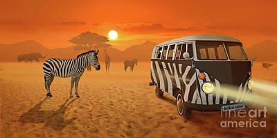 Africa Safari And Stripes Meeting Print by Monika Juengling