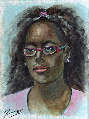 Woman Painting - African American 12 by Xueling Zou
