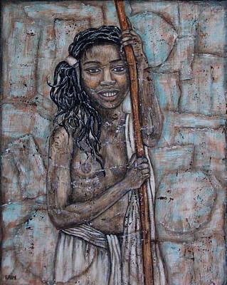 African American. Folk Art Painting - African Beauty I by Rain Ririn