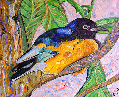 Starlings Painting - African Blue Eared Starling by Heather Lennox