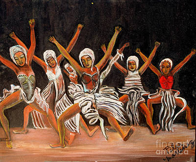African Dancers Print by Pilar  Martinez-Byrne