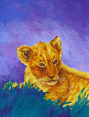 Painting - African Lion Cub by Margaret Saheed