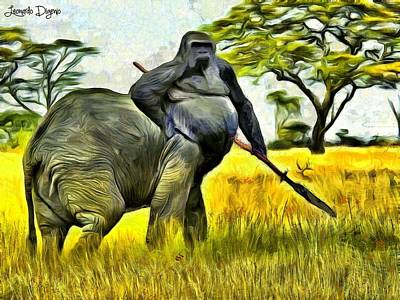 Minotaur Painting - African Minotaur by Leonardo Digenio