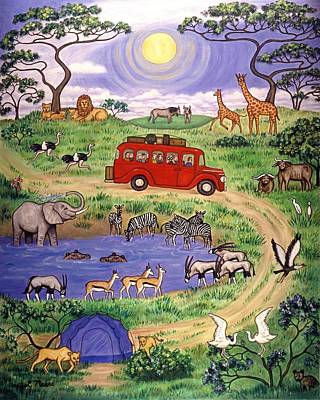 Giraffe Painting - African Safari Two by Linda Mears