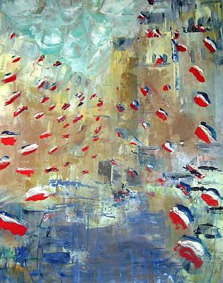 Patriotism Painting - After Monet's Rue Montorgueil by Michela Akers
