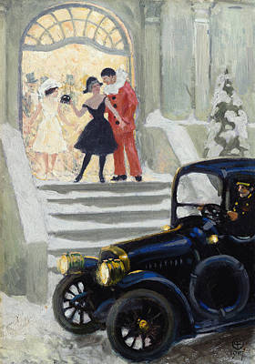 Evening Dress Painting - After The Ball by Paul Fischer
