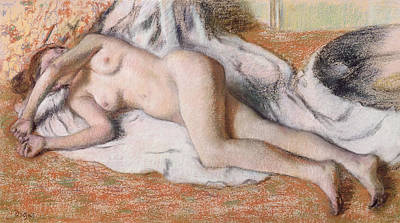 Ou Pastel - After The Bath Or Reclining Nude by Edgar Degas