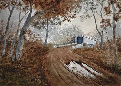 Covered Bridge Painting - After The Rain by Denise Harty