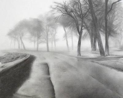 Cloudy Day Drawing - After The Rain by Lauren Bigelow