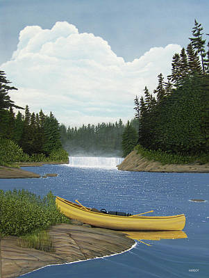 Canoe Waterfall Painting - After The Rapids by Kenneth M  Kirsch