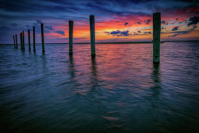 Afterglow On Great South Bay Print by Rick Berk