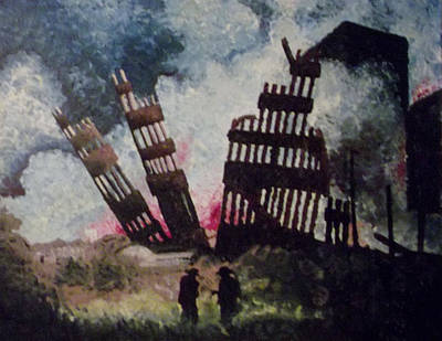 Twin Towers Nyc Painting - Aftermath by T Fischler